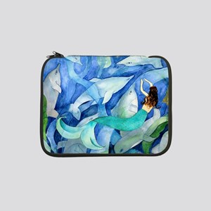 """Dolphins and Mermaid party 13"""" Laptop Sleeve"""