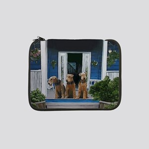 """3 Airedale on porch 13"""" Laptop Sleeve"""