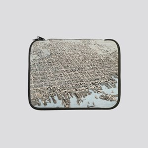 """Vintage Pictorial Map of New Bed 13"""" Laptop Sleeve"""