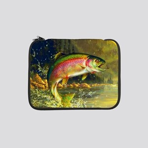 """Jumping Rainbow Trout 13"""" Laptop Sleeve"""