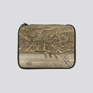 """Vintage Pictorial Map of Clevela 13"""" Laptop Sleeve"""
