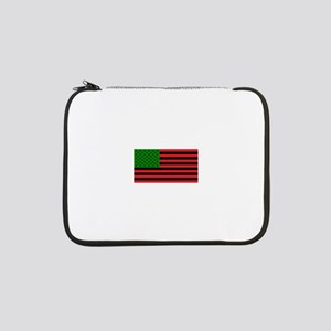 "African American Flag - Red Blac 13"" Laptop Sleeve"