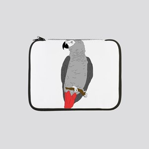 """African Grey Parrot on Perch 13"""" Laptop Sleeve"""