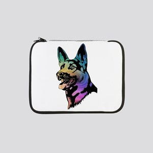 "Rainbow Swirl German Shepherd 13"" Laptop Sleeve"