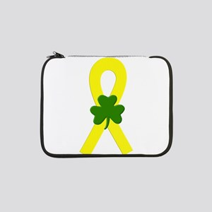 "Yellow Shamrock Ribbon 13"" Laptop Sleeve"