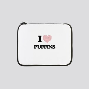 "I love Puffins (Heart Made from 13"" Laptop Sleeve"