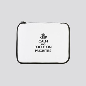 """Keep Calm and focus on Prioritie 13"""" Laptop Sleeve"""