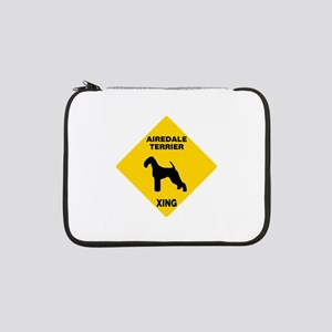 "Airedale Terrier Crossing Sign 13"" Laptop Sleeve"