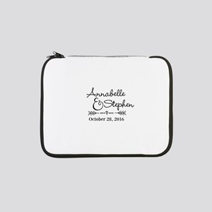 """Couples Names Wedding Personalized 13"""" Laptop Slee"""