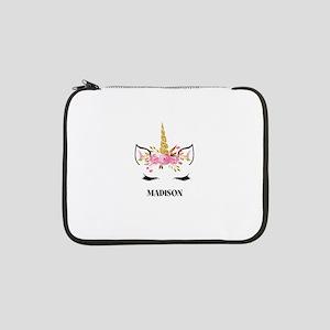 """Unicorn Face Eyelashes Personalized Gift 13"""" Lapto"""