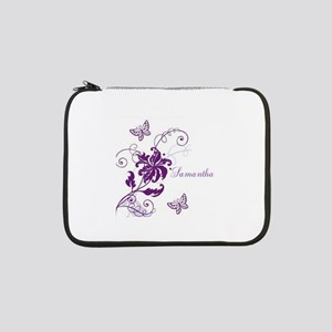 "Purple Butterflies and Vines 13"" Laptop Sleeve"