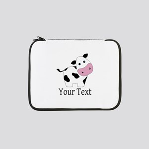 "Personalizable Black and White Cow 13"" Laptop Slee"