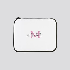 "Personalized pink monogram 13"" Laptop Sleeve"