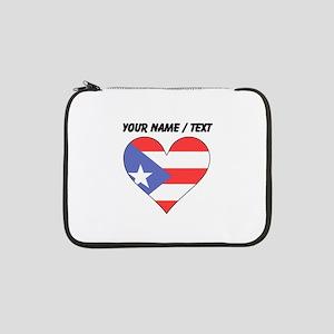 "Custom Puerto Rico Flag Heart 13"" Laptop Sleeve"