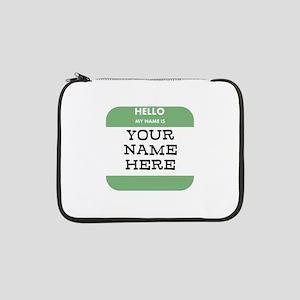 "Custom Green Name Tag 13"" Laptop Sleeve"