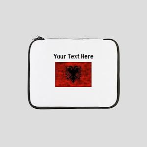 """Distressed Albania Flag (Custom) 13"""" Laptop Sleeve"""