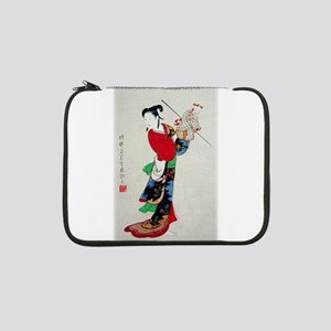 """Woman with Puppet 13"""" Laptop Sleeve"""