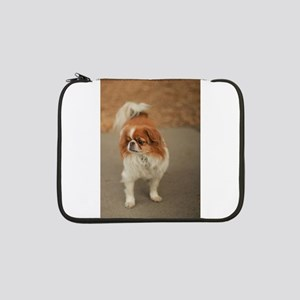 "Japanese chin on path at park in 13"" Laptop Sleeve"