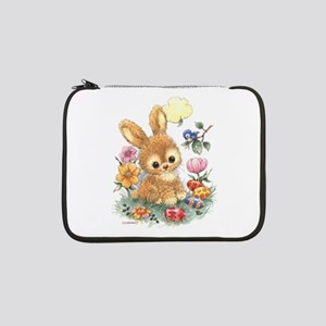 """Cute Easter Bunny With Flowers 13"""" Laptop Sle"""