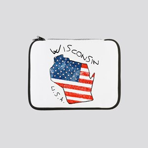 """Grungy American flag inside Wisconsin State 13"""" La"""