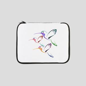 "Patchwork Trio of Hummingbirds 13"" Laptop Sleeve"