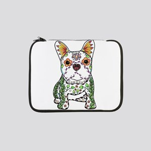 "Sugar Skull Frenchie 13"" Laptop Sleeve"