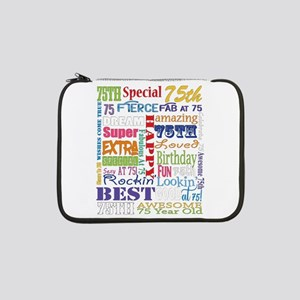 "75th Birthday Typography 13"" Laptop Sleeve"