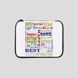 "90th Birthday Typography 13"" Laptop Sleeve"