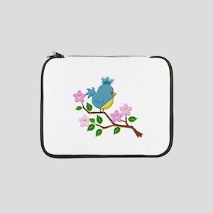 "Bird on Tree Limb with Spring Fl 13"" Laptop Sleeve"