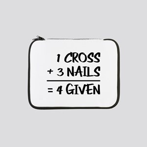 "One Cross Plus Three Nails Equal 13"" Laptop Sleeve"