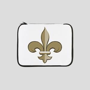 """Fleur De Lis Black Gold 13"""" Laptop Sleeve"""