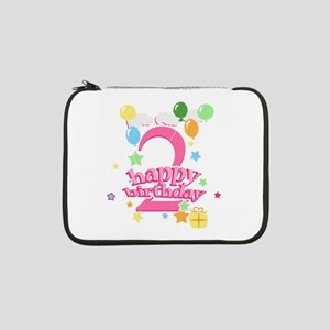 "2nd Birthday with Balloons - Pin 13"" Laptop Sleeve"