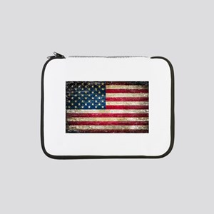 "Faded American Flag 13"" Laptop Sleeve"