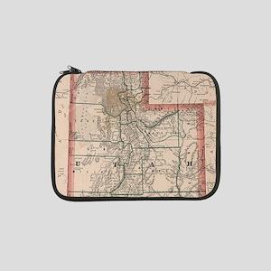"""Vintage Map of Utah (1883) 13"""" Laptop Sleeve"""