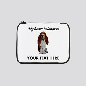 "Personalized Basset Hound 13"" Laptop Sleeve"