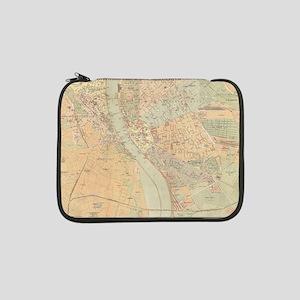 "Vintage Map of Budapest Hungary 13"" Laptop Sleeve"
