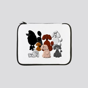 """TINY POODLE PACK COLLAGE 13"""" Laptop Sleeve"""