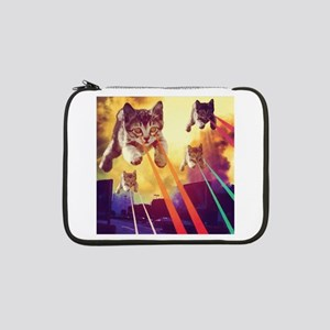 """Laser Eyes Space Cats Flying T-S 13"""" Laptop Sleeve"""