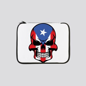 "Puerto Rican Flag Skull 13"" Laptop Sleeve"