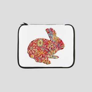 """Colorful Floral Easter Bunny 13"""" Laptop Sleeve"""