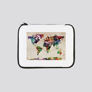 "World Map Urban Watercolor 14x10 13"" Laptop Sleeve"