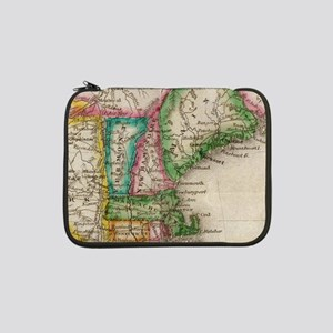 "Vintage Map of New England (1822 13"" Laptop Sleeve"