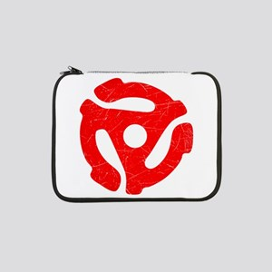"""Red Distressed 45 RPM Adapter 13"""" Laptop Sleeve"""