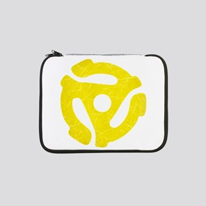 """Yellow Distressed 45 RPM Adapter 13"""" Laptop Sleeve"""