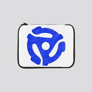 """Blue Distressed 45 RPM Adapter 13"""" Laptop Sleeve"""