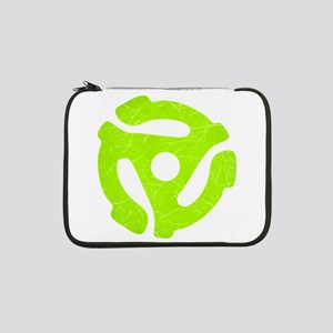 """Lime Green Distressed 45 RPM Adapter 13"""" Laptop Sl"""