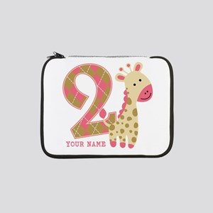 "2nd Birthday Giraffe Personalized 13"" Laptop Sleev"