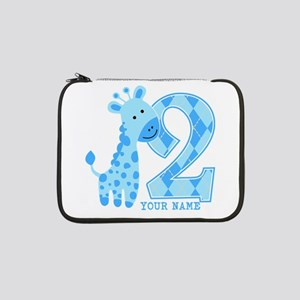 "2nd Birthday Blue Giraffe Personalized 13"" Laptop"