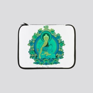 """Teal psychedelic Buddha 13"""" Laptop Sleeve"""