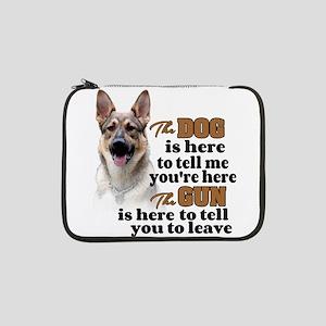 """Beware of Dog/Gun (German Shephe 13"""" Laptop Sleeve"""